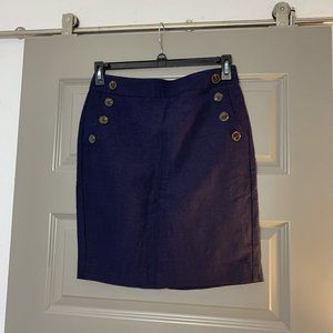 Ann Taylor Loft Nautical Button Skirt NWT 4